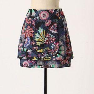 Anthropologie Leifsdottir Silk Tiered Skirt Sz 4